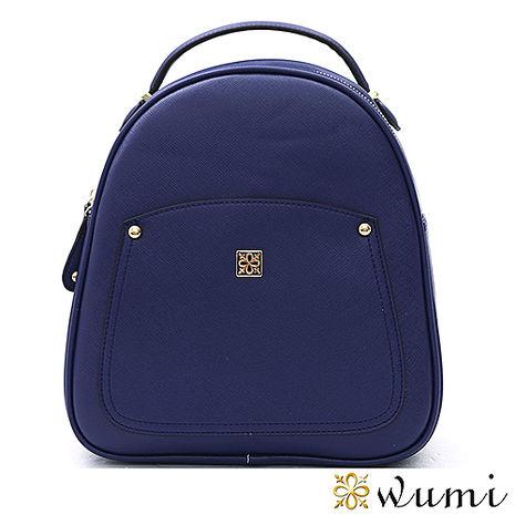 WuMi 無米 美洛蒂十字紋手提後背包 學院藍