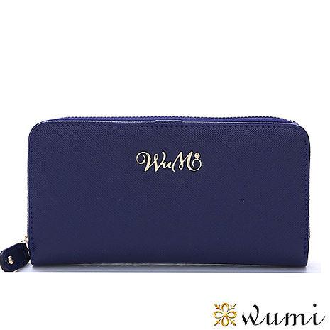 WuMi 無米 桃瑞絲十字紋雙用長夾 海軍藍