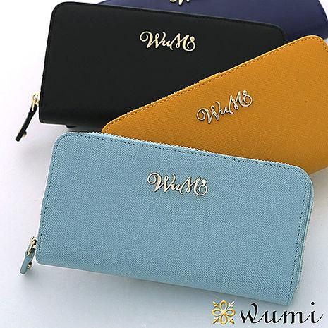 WuMi 無米 桃瑞絲十字紋雙用長夾 微風藍