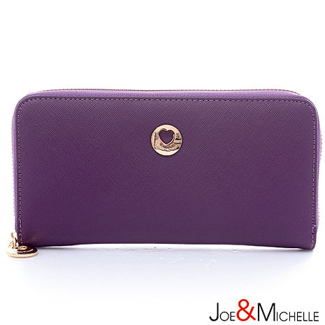 JOE&MICHELLE 真皮潔蜜莉十字紋拉鍊長夾 蘿蘭紫