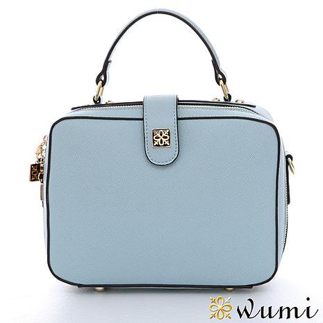 WuMi 無米 Mini極簡十字紋溫妮包 微風藍