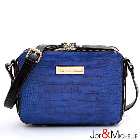 JOE&MICHELLE 真皮梅倫絲鱷魚紋mini斜揹包 琉璃藍