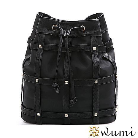 WuMi 無米 愛絲特尼龍鉚釘束口水桶包 時尚黑