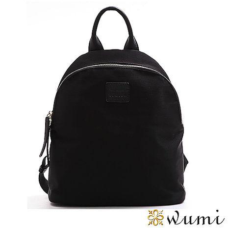 WuMi 無米 輕夏水皺紋尼龍配皮後背包 時尚黑