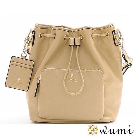 買一送一WuMi 無米 喬娜十字紋束口水桶包 金箔杏