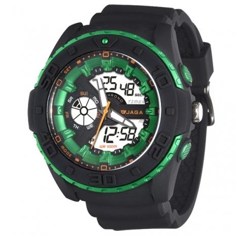 JAGA捷卡-blinkAD1015-AF 捍衛戰士雙顯多功能電子錶(黑綠)
