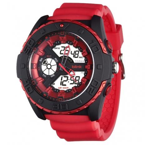 JAGA捷卡-blinkAD1015-GG捍衛戰士雙顯多功能電子錶(紅)