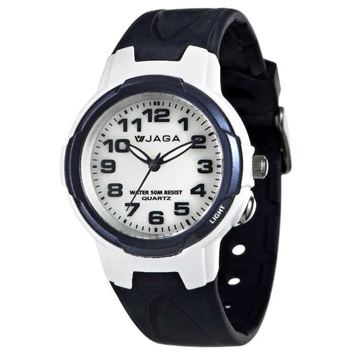 JAGA 捷卡 AQ71A-E 色彩繽紛夜光防水指針錶-藍/39mm