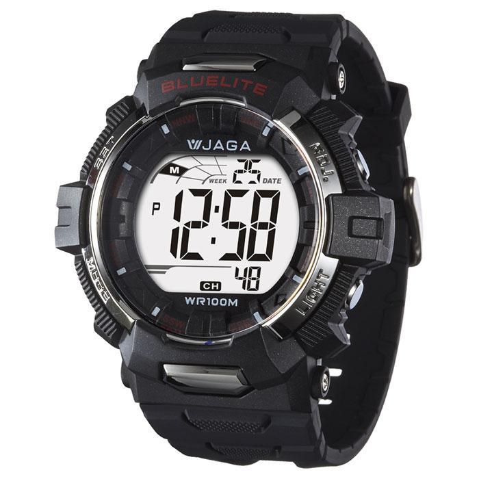JAGA捷卡M979B-A粗礦豪邁多功能電子錶(黑色)