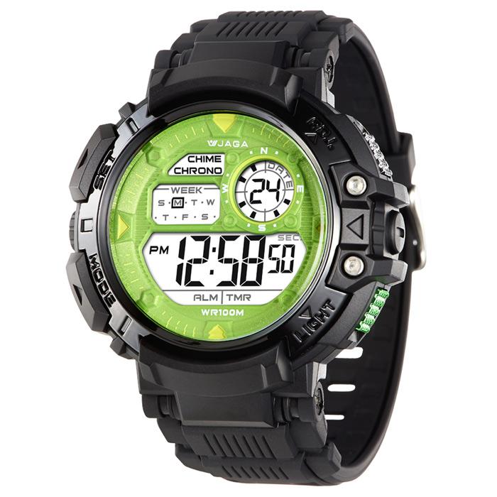 JAGA 捷卡 M1086-AF 時尚休閒運動多功能電子錶-黑綠/50mm