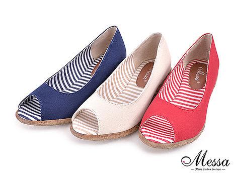 【Messa米莎專櫃女鞋】MIT 仲夏配色條紋內真皮魚口楔型涼鞋-三色紅色37