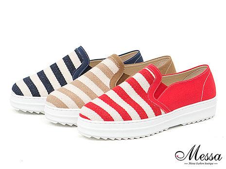 【Messa米莎專櫃女鞋】MIT 晴夏海軍風橫條紋內真皮厚底懶人鞋-三色紅色39