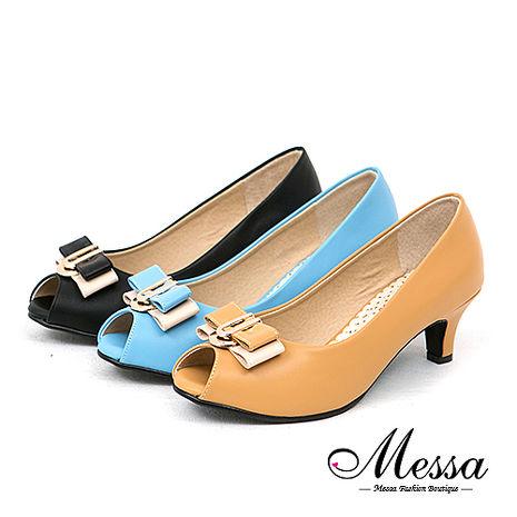 【Messa米莎專櫃女鞋】MIT 愛戀珍藏金屬雙拼色蝴蝶結內真皮魚口低跟鞋-三色可可色38