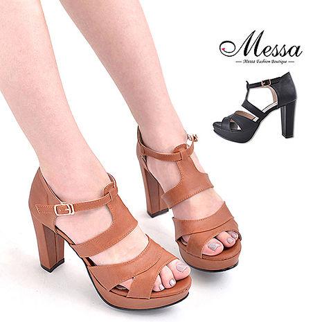 【Messa米莎專櫃女鞋】MIT 玩美時尚交錯繫踝鏤空內真皮高跟涼鞋-二色黑色38