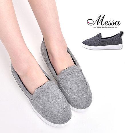 【Messa米莎專櫃女鞋】MIT 無印極簡太空棉休閒厚底懶人鞋-二色淺灰色35