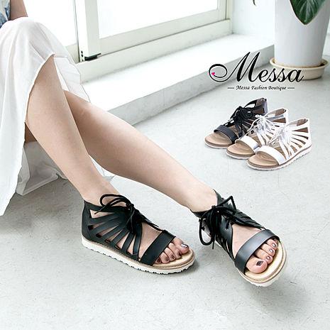 【Messa米莎專櫃女鞋】MIT 羅馬假期鏤空繫帶內真皮平底涼鞋-三色銀色38
