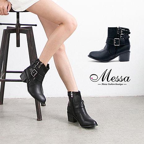 【Messa米莎專櫃女鞋】經典中性側拉鍊多扣環設計高跟短靴-黑色黑37