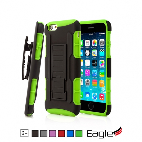 【Eagle 美國鷹】iPhone 6/6s Plus Holster Stand 滑槍套雙層保護殼(6色)粉紅/黑色
