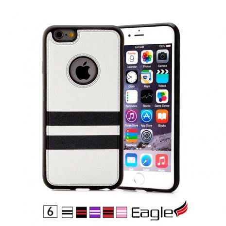 【Eagle 美國鷹】iPhone 6/6s Colored Striped 雙材質條紋保護殼(5色)紫底/白線