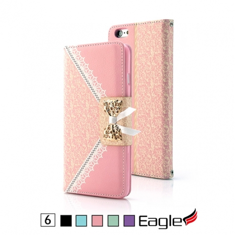 【Eagle 美國鷹】iPhone 6/6s Lace Bow 蕾絲磁扣皮套(5色)黑色