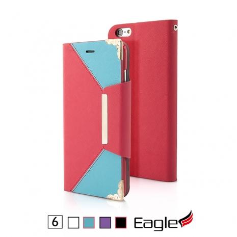 【Eagle 美國鷹】iPhone 6/6s Flip Wallet 掀蓋磁扣皮套(4色)黑色/紫色