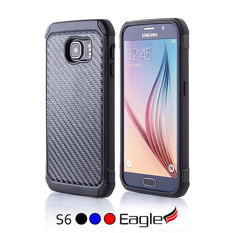 【Eagle 美國鷹】Samsung Galaxy S6 Hybrid Carbon 雙層碳化纖維保護殼(3色)紅色