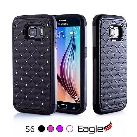 【Eagle 美國鷹】Samsung Galaxy S6 Spot Diamond Hybrid 雕花水鑽雙層保護殼(4色)粉白