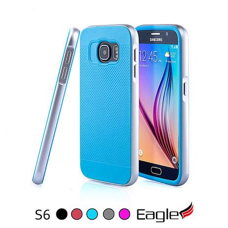 【Eagle 美國鷹】Samsung Galaxy S6 Hybrid Alloy Bumper 鋁框雙層保護殼(5色)粉紅/銀框