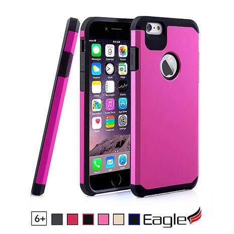 【Eagle 美國鷹】iPhone 6/6s Plus Hybrid Dual Layer 雙層雙色保護殼(6色)黑底/粉殼