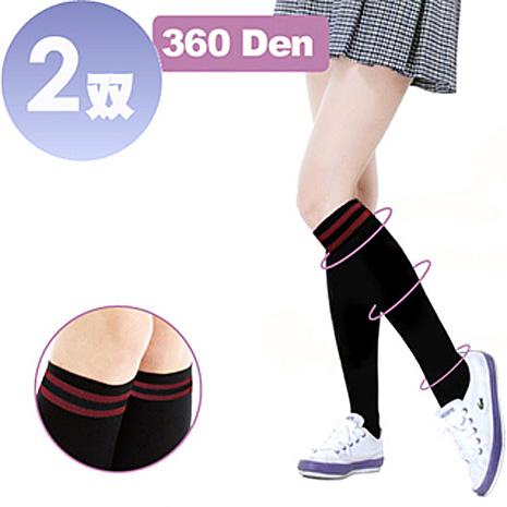 驄豪 足護士 Foot Nurse 360丹尼數條紋中統彈性襪-2雙 (保持體態優美、貼身舒適)L-XL