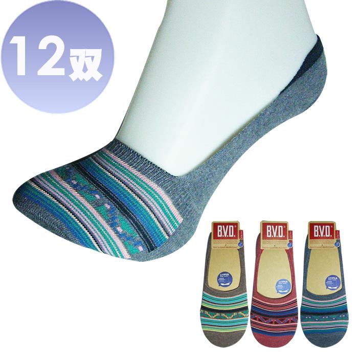 BVD 淺口止滑復古風樂福男性襪套/隱形襪-12雙(MIT 摩卡色、暗紅色、黑藍色)