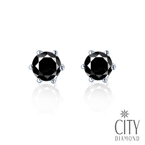 City Diamond引雅【東京Yuki系列】黑鑽石六爪耳環