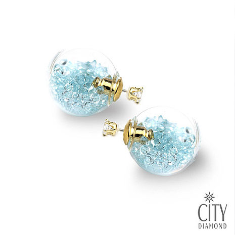City Diamond引雅【首爾Blue Star系列】兩用雙面時尚水晶玻璃耳環(粉藍鑽)雙11特賣 售價699