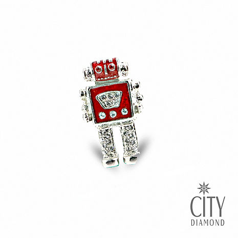 City Diamond引雅【東京Yuki系列】日系紅機器人領帶/別針/徽章(白K)
