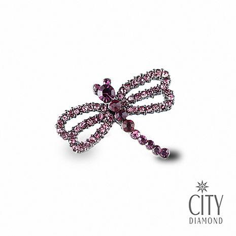 City Diamond引雅【東京Yuki系列】日系水鑽紫蜻蜓領帶/別針/徽章