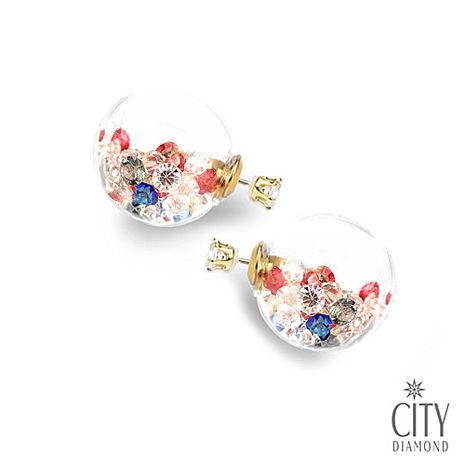 City Diamond引雅【首爾Blue Star系列】兩用雙面時尚水晶玻璃耳環-三色鑽