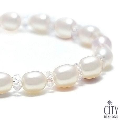 City Diamond引雅 天然珍珠水晶手鍊(PB00063)