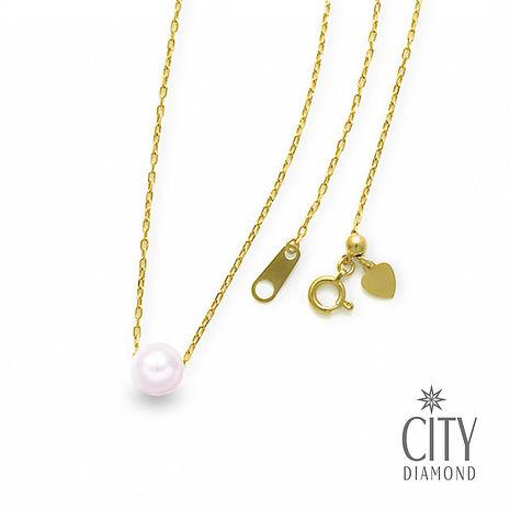 City Diamond 引雅 18K日本AKOYA單顆珍珠8mm伸縮黃K項鍊