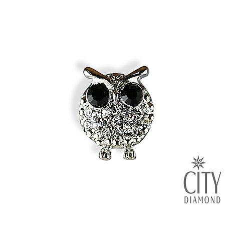 City Diamond引雅【東京Yuki系列】黑眼貓頭鷹水鑽胸針/領帶/別針/徽章 JPI0063