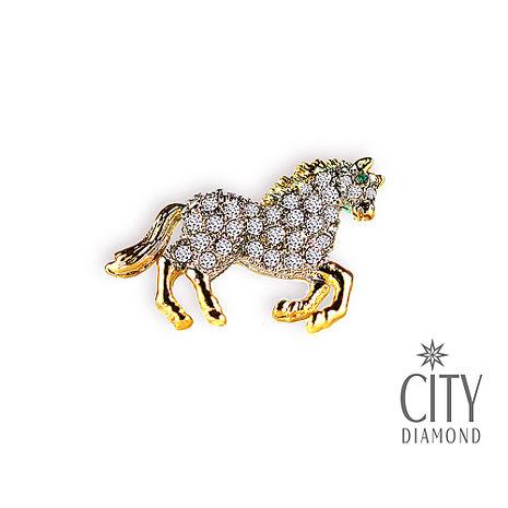 City Diamond引雅【東京Yuki系列】翱翔天馬水鑽胸針/領帶/別針/徽章 JPI0060