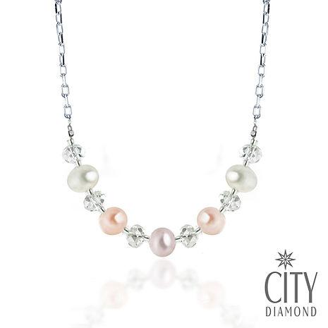 City Diamond 引雅【東京Yuki系列】天然珍珠水晶項鍊