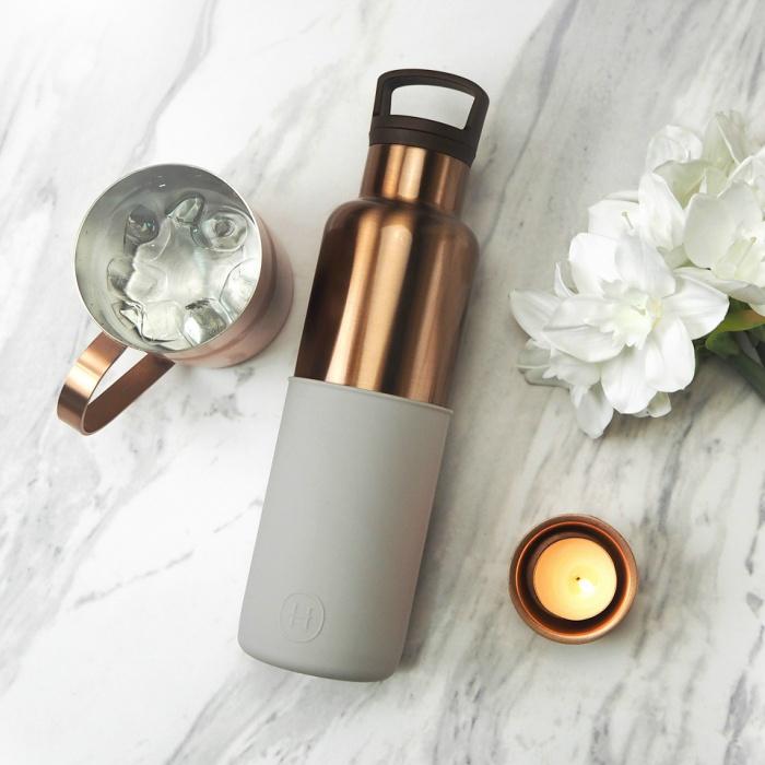【美國HYDY】時尚保溫水瓶-古銅金瓶+雲灰矽膠套