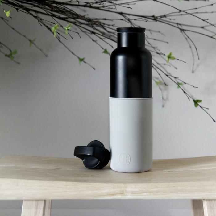 【美國HYDY】時尚保溫水瓶-黑瓶+雲灰矽膠套