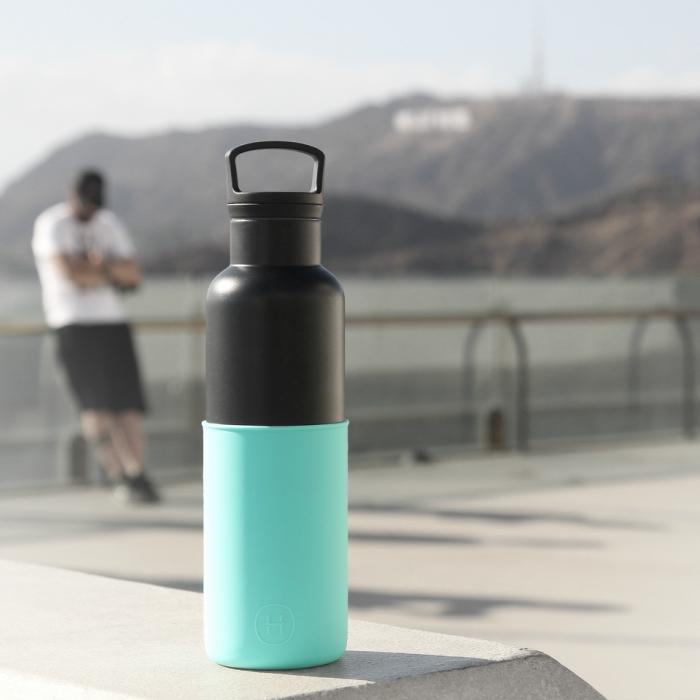 【美國HYDY】時尚保溫水瓶-黑瓶+北極藍矽膠套