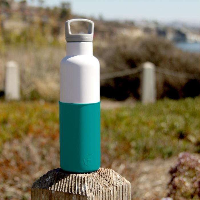 【美國HYDY】時尚保溫水瓶-白瓶+深青矽膠套