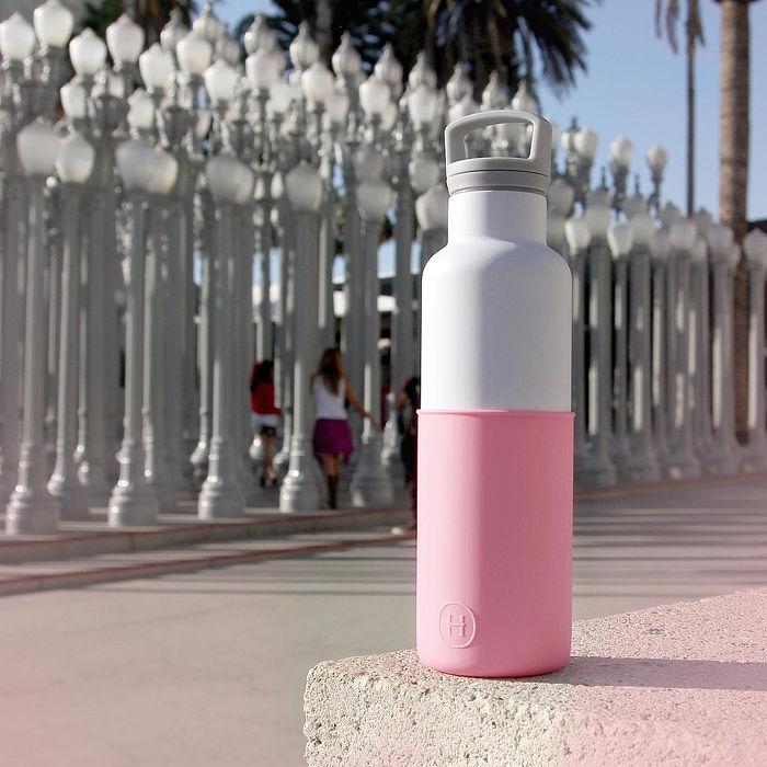 【美國HYDY】時尚保溫水瓶-白瓶+玫瑰粉矽膠套
