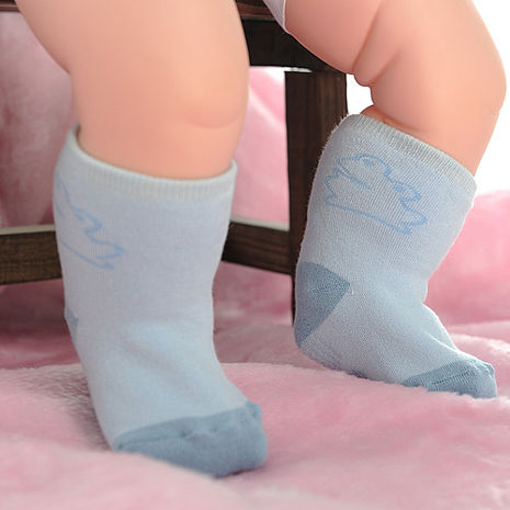 【KEROPPA】MIT0~6個月嬰兒厚底止滑1/2短襪x3雙(淺藍配藍)95001-D
