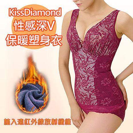 【KissDiamond】性感深v保暖塑身衣-H902-酒紅(布料植入遠紅外線放射纖維)酒紅XL