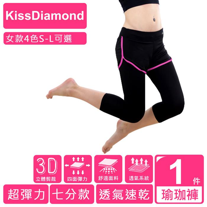 【KissDiamond】透氣排汗假2件7分運動褲運動/瑜珈/跑步/ 4色 S-L 可選螢光綠/L