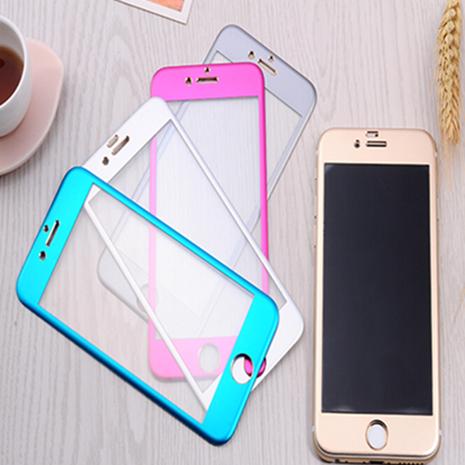 3D iPhone 6Plus 鈦合金 鋼化玻璃膜 前+後膜 保護貼 金屬邊框 曲面 特賣